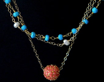 Turquoise Freshwater Pearl Coral Bohemian Layered Rosary Necklace