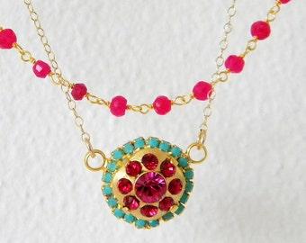 Ruby Gemstone Turquoise Swarovski Layered Rosary Necklace