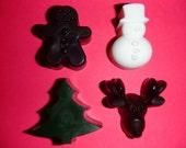 Set of 4 Christmas Soaps - Gingerbread Man, Christmas Tree, Snowman, & Reindeer