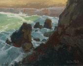 Emerald Bay Precipice - 9 x 12 Inch Original Oil Painting of Beach Bluffs - Laguna Beach Painting - Living Room Art - Wall Decor