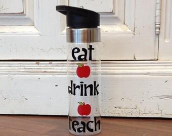 Personalized Teacher Water Bottle | Teacher Appreciation Drink Bottle | Wide Mouth Sports Bottle | Personalized Teacher Christmas Gift