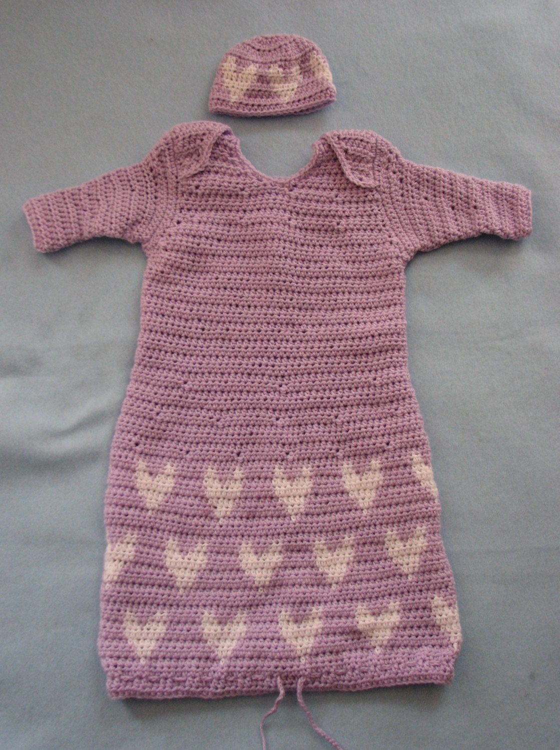 Free Crochet Patterns For Pajama Bags : Lilac Sweet Pea Pajama Sleepwear Infant Bag with Hearts