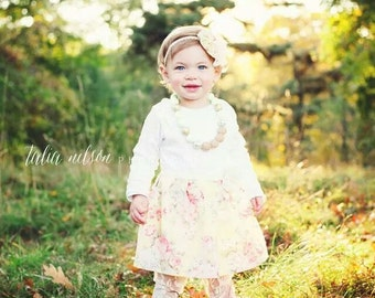 SHABBY CHIC...One piece DRESS... in yellow floral and lace and pearl accents