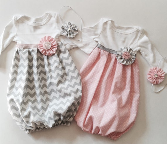 Baby girl GOWNS.. Infant layettes or TWIN set with headbands..