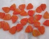 25 pcs. striped hurricane Czech glass leaf beads orange 12x10mm - f4469
