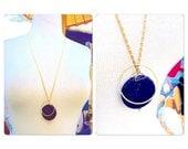 Lapis Lazuli Blue Gemstone Geometric Necklace - Planet Gemstone - Galaxy Necklace - Blue gemstone - statement necklace