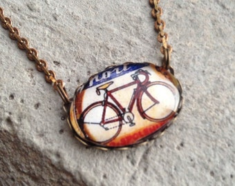 Vintage tour de France Bike Illustration Necklace//  Solid Brass Chain long - vintage style jewelry