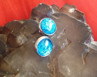 Be Dazzling - Blue Shards Shimmer Glass Post Stud Earrings - Glitter Collection - Bitty - small studs