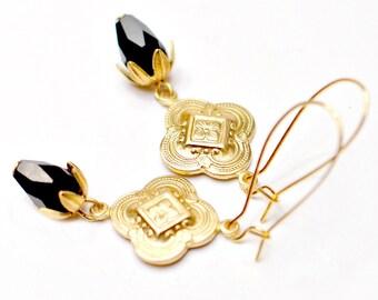 Gold and Black Bohemian Dangle Earrings, Gold Dangle Earrings, Gold drop earrings, Bohemian jewelry, boho jewelry, long earrings, Holiday