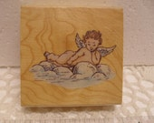 Cherub on a Cloud Red Rubber Stamp, Wood Mounted