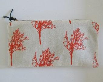 Zipper Clutch/Wallet - Coral Trees - Hand Screen Printed un-bleached cotton canvas with antique brass zipper