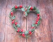 ROSE  grapevine WREATH  heart shaped with BEADED leaves and berries