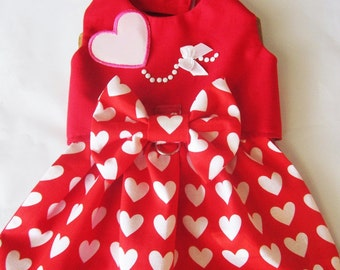 Dog Clothes Dog  Dress Valentine Hearts: Chihuahua Yorkie ShihTzu, CKC Spaniel
