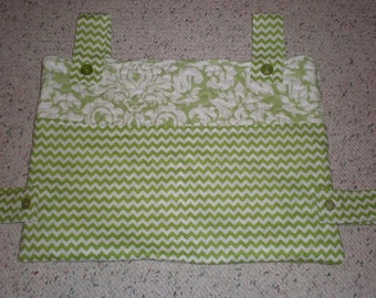 Green and White Print and Chevron Walker Bag