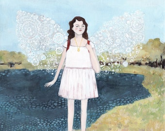 giclee art print - anya wore wings made of winter - limited edition giclee print of original oil painting
