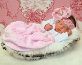 Newborn infant Custom size Boutique Baby layette wholesale gown shower personalized Pink Minky Damask NB preemie 0 3 6 9 12