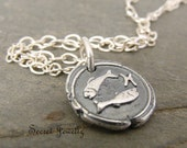 Pisces Fine Silver Pendant, Zodiac Jewelry, Star Sign Jewelry, Fish Pendant, Astrology, Pisces Necklace, Petite Wax Seal Necklace