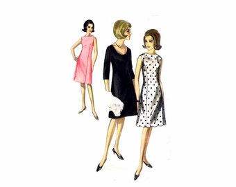 1960s Butterick 3818 Misses Sleeveless Scalloped Hem Dress Vintage Sewing Pattern Size 14 Bust 34 UNCUT
