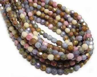 Czech Fire Polished Beads - 4mm Fire Polished - Czech Glass Beads - Czech Round Beads - 4mm Beads - Czech Beads -  50pcs (1413)