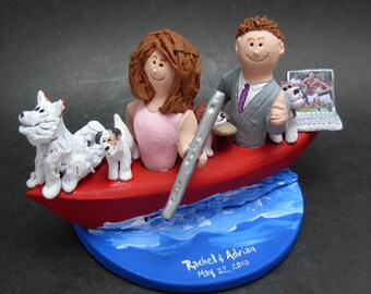 Bride and Groom in a Kayak Wedding Cake Topper, Canoeing Wedding Cake Topper, Kayakers Wedding Cake Topper, Kayaking Wedding CakeTopper