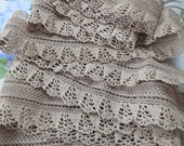 "Gorgeous Vintage Mocha Cotton Crochet  Lace Trim - 80"" long - Unused"