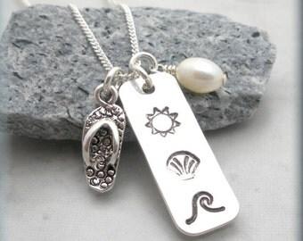 Sun Sand Sea Necklace Beach Jewelry Ocean Summer Necklace Flip Flop Charm Handstamped (SN841)