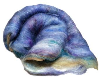 "PHAT FIBER Scotland ""Findhorn Beach"" fiber art batt Roving, sand, tan, blue, lavender, teal, purple, white, needle nuno felt, spinning"