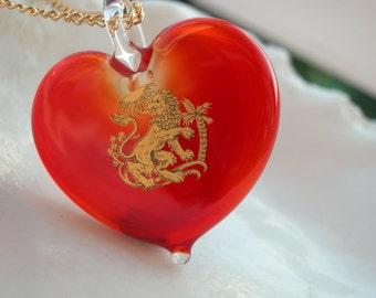 Leo Birthsign Necklace - Venetian Murano Glass Jewelry