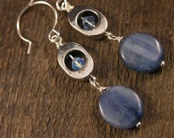 Blue kyanite gemstone, swarovski crystal and silver handmade earrings