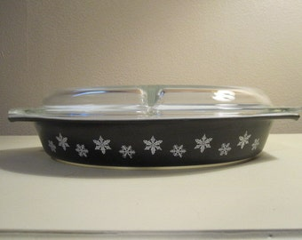 "Vintage Black "" Charcoal"" Divided Casserole Dish with Snowflakes"