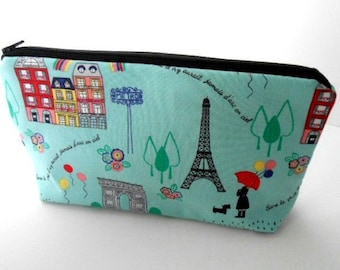Paris Flat Bottom Cosmetic Bag Zipper Pouch ECO Friendly Padded LIMITED Item Paris in Spring