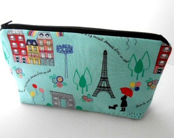 Paris Flat Bottom Cosmetic Bag Zipper Pouch ECO Friendly Padded NEW Paris in Spring