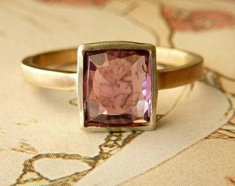 Rose Cut Rectangle Plum Sapphire Ring
