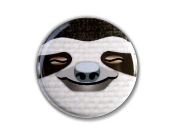 Blissful Sloth Face One Inch Pinback Button, Magnet, or Keychain