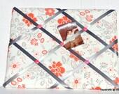 Romantic Floral Table For Two Memory Board French Memo Board, Ribbon Fabric Bulletin Board, Fabric Pin Board, Fabric Ribbon Memo Board