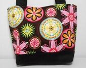 Carnival Bloom Purse or Medium Tote Bag, Retro Fabric Purse