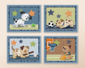 Set of Four bow wow puppy buddies prints, nursery wall art. Made to Match crib bedding. You pick four! 6 total prints to choose from.