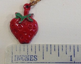 Vintage oldstock funky  costume  red strawberry pendent necklace yummmy