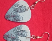 Walking Dead zombie earrings - made from upcycled plectrums!