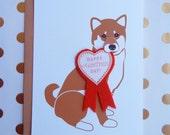 Happy Valentine's Day Macky the Shiba Inu Dog Heart Badge Felt Applique  Ribbon Note Card with Envelope