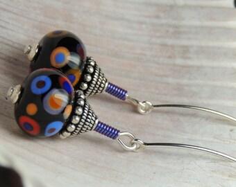 GALAXY Handmade Lampwork Bead Dangle Earrings