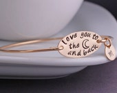 Gold Love You to the Moon and Back Bracelet, Personalized Mother's Day Gift, Bangle Bracelet, Hand Stamped