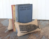 Cachalot Whale - Petit Feed Sack Pillow Pair - Unique paper weight, bookends, pin cushion  - Whale bookends - nautical bookends - Coastal