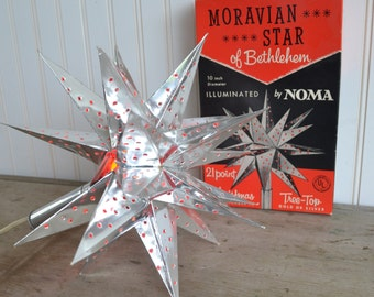 "Vintage Moravian Star of Bethlehem by Noma, 10"", Christmas Tree topper,"
