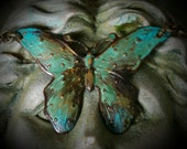 Antiqued brass and verdigris butterfly necklace