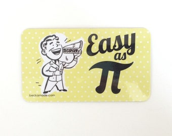 Easy as Pi Retro Kitchen Magnet. Math Humor.