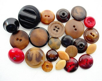 Neat Lot of Various Vintage Vegetable Ivory Nut Buttons-All Kinds!