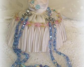 vintage double strand swarovski crystal necklace mid century crystals . light blue ab rhinestone necklace ends unUsual crystals shape