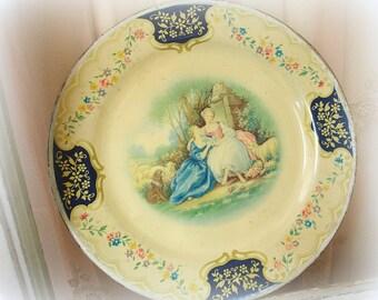 vintage enamelware plate . decorative enamelware plate . marie antoinette home decor . decorative scenic plate