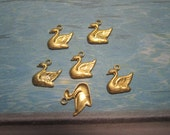 Swan Charms Bird Supplies Brass Jewelry Findings on Etsy x 6